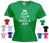 'Keep Calm and Drive a Jeep' (Car Logo) Cherokee Wrangler Ladies Girls T-shirt