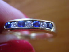 Lovely Solid Yellow 18CT GOLD Diamond & Cylon Sapphire half eternity Ring Size L