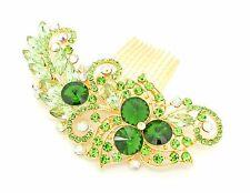 GREEN Colour Bridal Bridesmaid Wedding Hair Comb Clip Rhinestone Diamante Prom