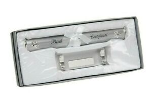 Shudehill Silver Plated Baby Birth Certificate Holder & Stand Lined Gift Box