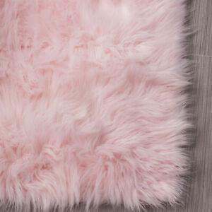 Faux Sheepskin Shag Rug Light Pink Silky Carpet 4' x 6'