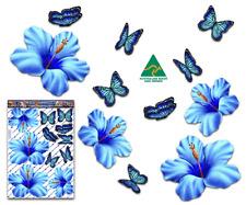 Jas Stickers Flower Car Sticker Blue Hibiscus Butterfly Lge Vinyl Pack St023bl3