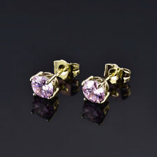HUCHE 24K Yellow Gold Filled Pink Sapphire Diamond Lady Party Ballroom Earrings
