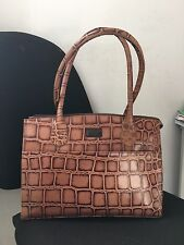 New Osprey London Brown Tan Leather Croc Print Bag Cost £195 Allington Work Croc