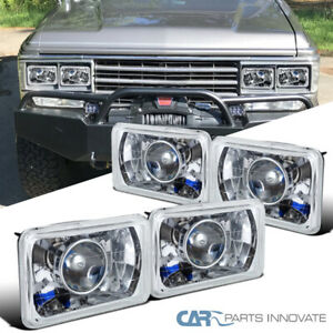 4PC 4X6 Crystal Clear Cut Projector Headlights+H4 Bulbs+Conversion Kit