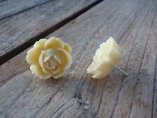 Ladies Women's Girl's Large Cream Coloured Flower Rose Studs Free Shipping