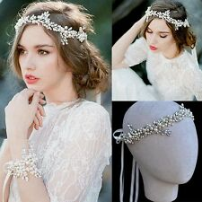 Wedding Bridal Crystal Pearl Hair Accessories Ribbon Headband Tiara Jewelry Band