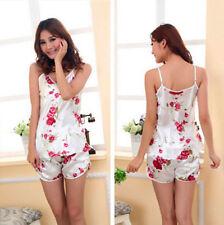 Rose Print Floral Pyjama Set One Size (S) UK 6-8  2 Piece Set Top & Shorts Gift