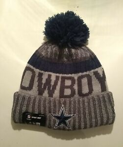 New Era Dallas Cowboys NFL Sport Knit Hat with Pom Pom Ball - Blue and Gray