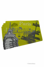 """Set 4 Vintage 17"""" Cafe French Eiffel Tower Flexible Easy-Clean Plastic Placemats"""