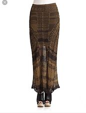 NWT Vintage Free People Fade To Black Bohemian Maxi Skirt In Large