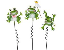 Frog Lawn Stakes 3 Pc Spring Top Garden Weatherproof Outdoor Yard Art Ornament