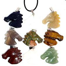 Horse Head Necklace Stone Quartz Carved Pendant Animal Spiritual Healing UK