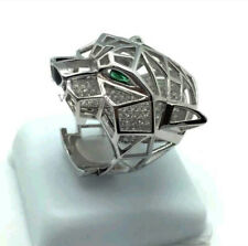 Green Pear & White Round Diamond Hip Hop Panther Ring Solid 925 Sterling Silver