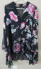 Citron Santa Monica Open long kimono Size XL Black Sheer  Floral Butterfly top