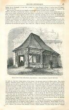 Porche en Bois l'Eglise de Bosc-Bordel en Seine-Maritime Normandie GRAVURE 1871