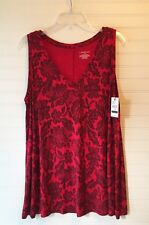 Lane Bryant women's top size 14/16 red w black floral sleeveless top NWT