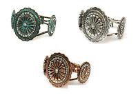 Rhinestone Concho Antique Bangle Bracelet Patina Turquoise Blue Silver Copper