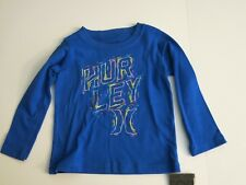 Hurley Infant Toddler Boy's 12M Blue Logo Long Sleeve Cotton Tee T-Shirt NEW