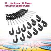 12Pcs Kayak Nylon Lashing Hook J Hook Bungee Kit With Rivets For Canoe Boat Q0I5