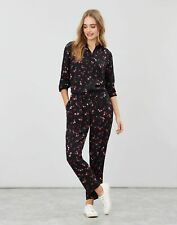 Joules Jenny Long Sleeve Button Through Jumpsuit - BLACK TULIPS