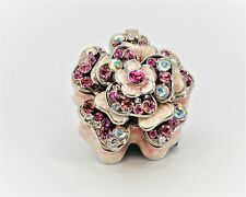Floral Scallop Trinket Box Made by Hand with Swarovski Crystals & Pink Enamel