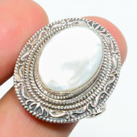 Mother Of Pearl Gemstone 925 Sterling Silver Handmade Bali Ring s.8 W2499