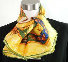 "Mint Authentic HERMES Carpe Diem Yellow 100% Silk 90cm Shawl Scarf 35"""