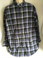 Patagonia Shirt Mens XL 100% Cotton White Blue Check Plaid Long Sleeve