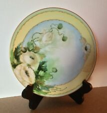 Antique French Limoges Hand-Painted Artist Signed Decorative Plate Floral & Gold