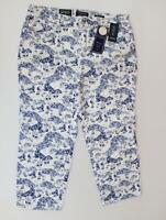 Charter Club Capri Pants Plus Size Print Tummy Control Blue White MSRP$64.5 1181