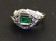 Antique 18k white gold .60ct diamond emerald cocktail ring size 4.25