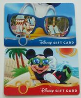 Disney Gift Card - LOT of 2 - Mickey Beach, Donald w/ Foil Sunglasses - No Value