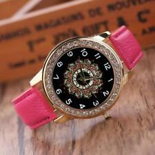 Women`s Gold Quartz Crystal Black Patterned Faced & Hot Pink Band Wrist Watch.