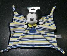 NEUF  doudou plat Mickey Hello Disney Nicotoy bleu gris jaune noir blanc 4 noeud