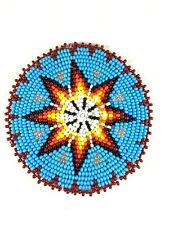 NATIVE STYLE HANDMADE TURQUOISE BLUE STAR BEADED APPLIQUES ROSETTE  Q53/15