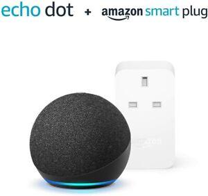 AMAZON Echo Dot (4th Gen) Smart Speaker Voice Commands Charcoal + Smart Plug