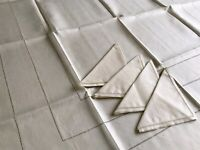 "Vintage Unused Cream Irish Linen Tablecloth 42X44"" 4 Matching Napkins 13.5x14"""