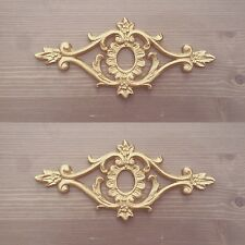 Pair Of Shabby Chic Gold Furniture Drawer Knob Flower Resin Appliques Mouldings