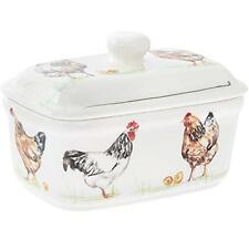 Country Life Chickens Design Fine China Butter Dish Hen Farm Animals