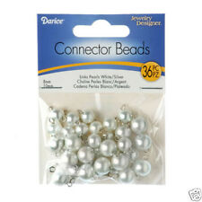 White Pearls Acrylic / Faux Beads with Silver Head Pin 8mm & 10mm ~36 Pieces