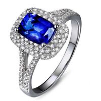 4.00Ct Blue Sapphire and Diamond Halo Engagement Ring 14K White Gold Finish