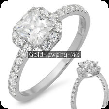 MAY 14K White GOLD Ring 1.50Ct PRINCESS Cut Diamond Lab-created Engagement Woman