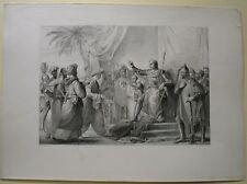 Stampa antica SAN LUIGI Re di Francia Crociata 1840