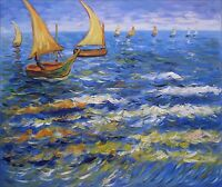 Van Gogh The Sea at Saintes-Maries, Hand Painted Oil Painting 20x24in