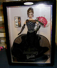 1999 40th Anniversary Collector Edition Barbie Doll Black White Gown NRFB HTF