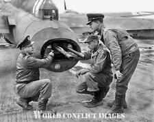 USAAF WW2 B-17 Bomber Tail Gun Inspection 8x10 Photo 379th BG WWII