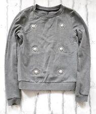 ROAR: Versace Versus AW15 Lion Medallion Grey Sweatshirt New SzS/UK8-10