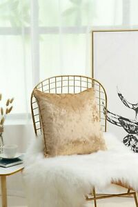 New Plain Luxury Crushed Velvet Cushion Cover With Piped Edges 45 x 45 cm Gold