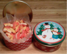 2-LBS SNOWMAN GIFT TIN (R-W-G)  OF OLD SCHOOL PEACH BUDS CANDY W/COCONUT CENTER